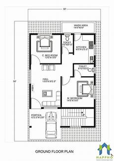 floor plan for 30 x 50 plot 2 bhk 1500 square