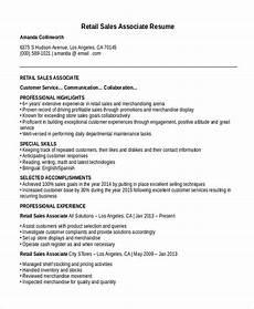 Sales Associate Responsibilities Resume Sales Associate Resume Template 8 Free Word Pdf