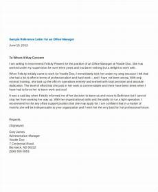 Letter Of Recommendation For Office Manager Manager Reference Letter Templates 7 Free Word Format