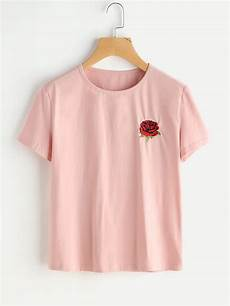 embroidered t shirt shein sheinside