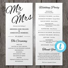 How To Make A Wedding Program Printable Wedding Program Template Mr Amp Mrs Instant Download