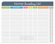 Home Contents Inventory Home Inventory Organizing Printable Editable Household
