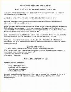 How To Write A Career Vision Statement Personal Mission Statement Examples For Students