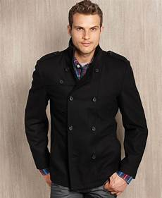 big mans breasted coats lyst guess guess coat woolblend breasted modern
