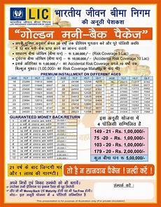 Lic Plan Chart In Hindi Lic Golden Money Back Policy Details
