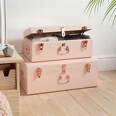 beautify large blush pink steel storage trunk chest set