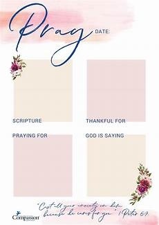 Prayer Template Your Free Prayer Journal Templates Compassion Uk