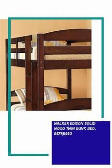 walker edison solid wood bunk bed espresso