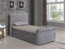 3ft single crushed velvet fabric bed frame selina silver
