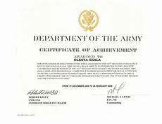 Army Certificates Of Training Us Army Certificate Of Achievement
