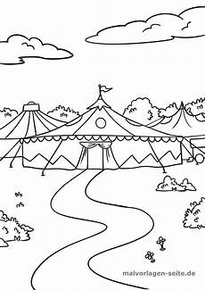 malvorlage zirkus zirkuszelt kostenlose ausmalbilder