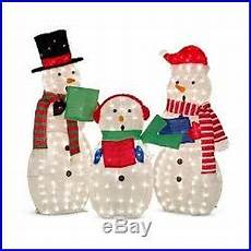 Lighted Snowman Family Set Of 3 Outdoor Lighted Set Of 3 Snowman Family Caroling Christmas