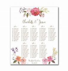 Table Seating Chart For Wedding Reception Template Wedding Table Seating Chart Printable 50 130 Guests