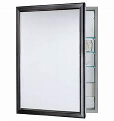 framed medicine cabinet with outlet brushed black
