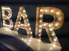 Indigo Light Up Letters Retro Fairground Style Light Up Letters With Rust Effect