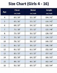 Girls Size Chart Schoolwear And Uniforms Couture