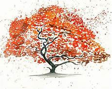 japanese maple tree landscape painting watercolor orange