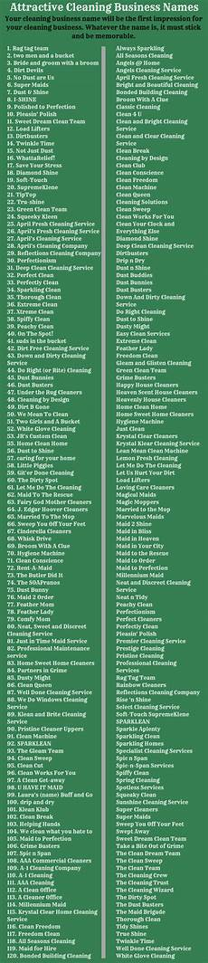 Names For Housekeeping Business Cleaning Business Names 400 Cute Names For Cleaning Services
