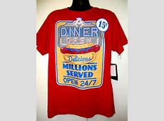 DINER OPEN T Shirt Size Large Open 24/7 Millions Served