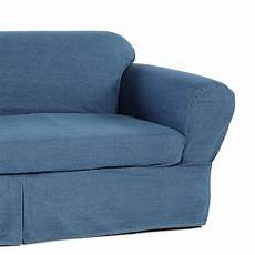 2 Sofa And Loveseat Slipcover 3d Image by 2 Cotton Washed Heavy Denim Sofa Slipcover Blue
