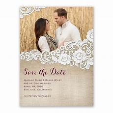 Wedding Save The Date And Invitations Burlap And Lace Save The Date Card S Bridal Bargains