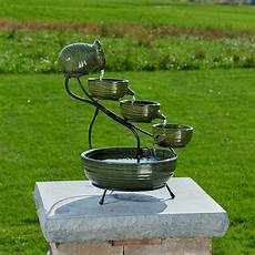 Solar Waterfall Lights Smart Solar Ceramic Solar Cascade Fountain With Green