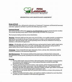 Lawn Care Contracts Samples Free 9 Lawn Service Contract Templates In Pdf Ms Word