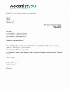 Notice Of Termination Of Contract Employment Contract Termination Letter With Notice