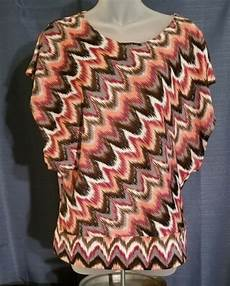 Chances R Designs Chances R Pink Brown White Maroon Wavy Lined Geometric