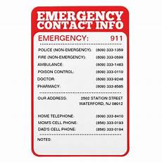 Emergency Contact Sign Emergency Contact Information List Rectangular Photo