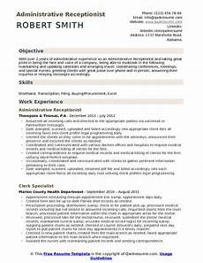 Receptionist Objective On Resume Administrative Receptionist Resume Samples Qwikresume