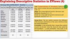 Descriptive Statistics Examples Eviews10 Interpret Descriptive Statistics