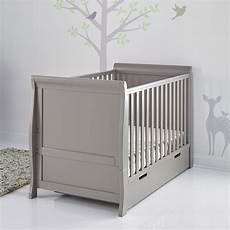 obaby stamford sleigh cot bed in taupe grey obaby