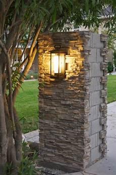 Stone Outdoor Lighting Outdoor Update Stacked Stone Pillar Lights Amp Progress