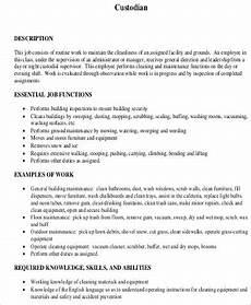Custodian Resume Sample Custodian Resume 8 Examples In Word Pdf
