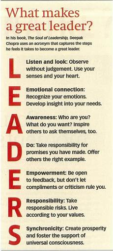 Examples Of A Leader Leadership Acronym Google Search Leadership Emotional