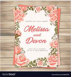 Pink Invitation Card Wedding Invitation Pink Roses Pink Background Vect