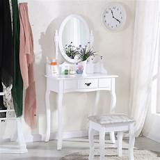 white dressing table makeup desk sets with stool and oval