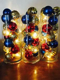 Fairy Lights In Glass Cylinder Create A Dramatic Glowing Holiday Centerpiece With A Glass