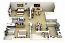 2 Bedroom Flat Floor Plans 50 3d Floor Plans Lay Out Designs For 2 Bedroom House Or