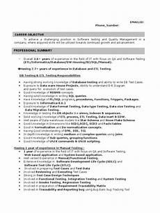 Etl Testing Resume Sample Resume For Etl Testing 2 Yrs Regression Analysis