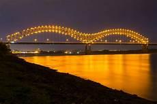 Hernando De Soto Bridge Lights Hernando De Soto Bridge Through Arch Bridge In Memphis