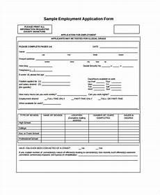 Generic Printable Employment Application Generic Employment Application Template 8 Free Pdf