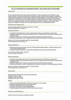 Electronic Technician Resumes Sample Electronics Engineering Technician Resume