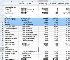 Budget And Expenses A Simple Household Budget Amp Expenses Tracker G E B W E B