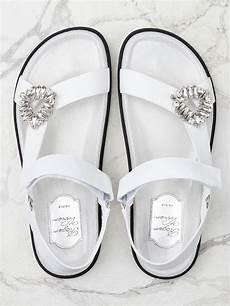Roger Vivier Size Chart White Trekky Viv Sandals In Fabric Rvw45821440iya42b001