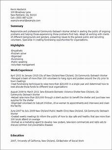 Community Service Worker Resume Professional Community Outreach Worker Templates To
