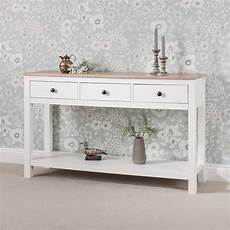white console table 3 drawers with shelf