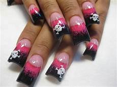 Black White And Pink Nail Designs Pink And Black Skulls Nail Art Gallery