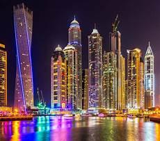 Dubai Night Lights Dubai City Skyscrapers Building Night Lights Colorful